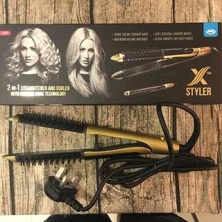 Hair straightener and curler iron