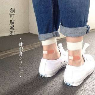 。error dot。//我的腳受傷了//貼OK蹦水晶玻璃絲透膚襪子