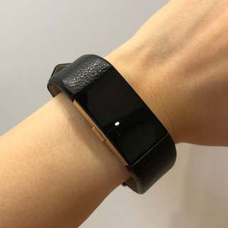Fitbit Charge 2 Genuine Leather Black Straps
