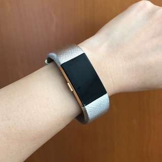 Fitbit Charge 2 Genuine Leather Silver Straps