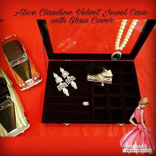 "Good Quality ALICE CLAUDINE Thick Velvet Jewel Case with Glass Cover. It has 7 rows that hold up to 35 rings and 2""x2"" squares (15) for earrings/ pendant/ necklaces. 14"" x 10"" x 2""h, Large, no small. $48 Clearance Offer, sms 96337309."