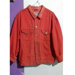 Jacket jeans oversized merah