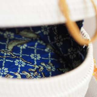 PREMIUM Batik Lining Rattan Bag: Brave Blue
