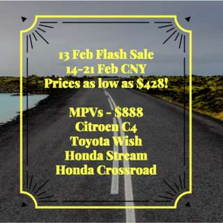 FLASH PROMOTION 14-21 FEB CNY SALE from $428 onwards