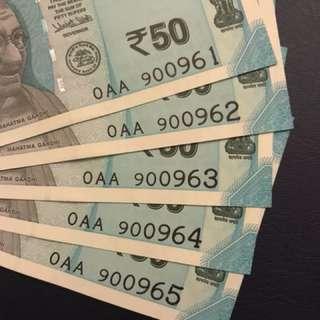India new design 50 rupee - 0AA - 5 run UNC