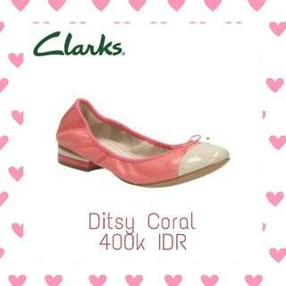 Ditsy Coral Clarks Shoes Sepatu Sandal Kulit Flat Heels Original