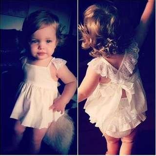 🦁Instock - 2pc white angel set, baby infant toddler girl children glad cute 123456789