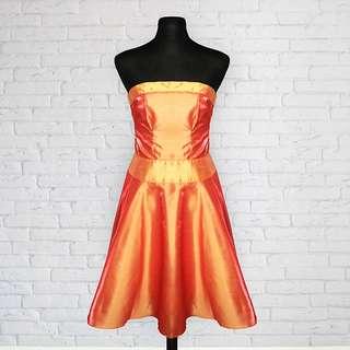 Elegant Orange Tube Cocktail Dress