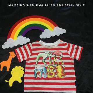 3-6m Baby Red Stripes Tee
