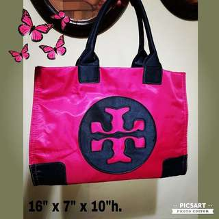 Gorgeous Shocking Pink Canvas Bag with Double T Logo. I am not what brand it stand for. Best match with Deep Blue Jeans or Black Outfit. Versatile, shoulder-sling or hand-carry. Fits A4 paper. Good Condition, clean and no damage. $28 Offer, sms 96337309.