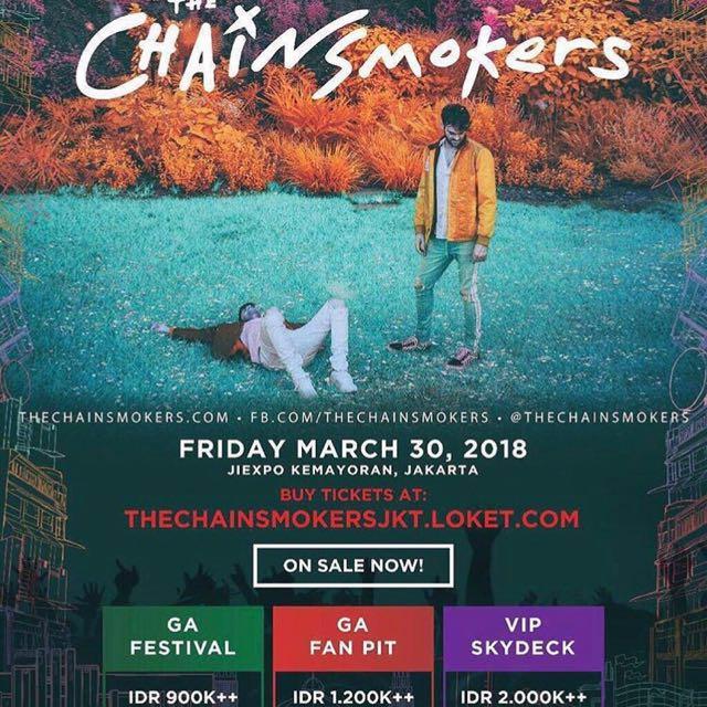 2 Ticket the chainsmokers GA FAN FIT (harga sudah termasuk tax)