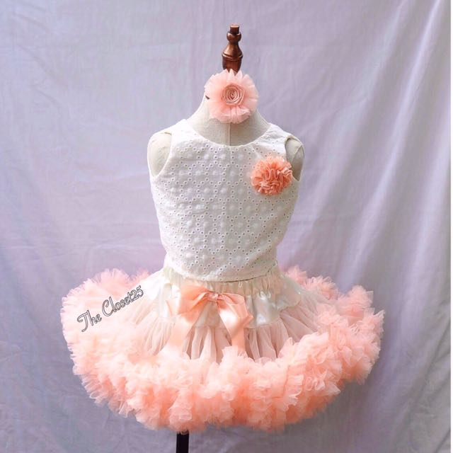 3Layered Pettiskirt peach & beige combination & ivory top in cotton eyelet. .