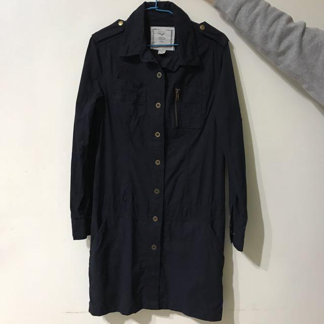 50% 深藍色長版襯衫 洋裝