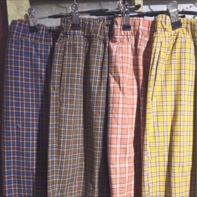 復古格子褲(卡其)