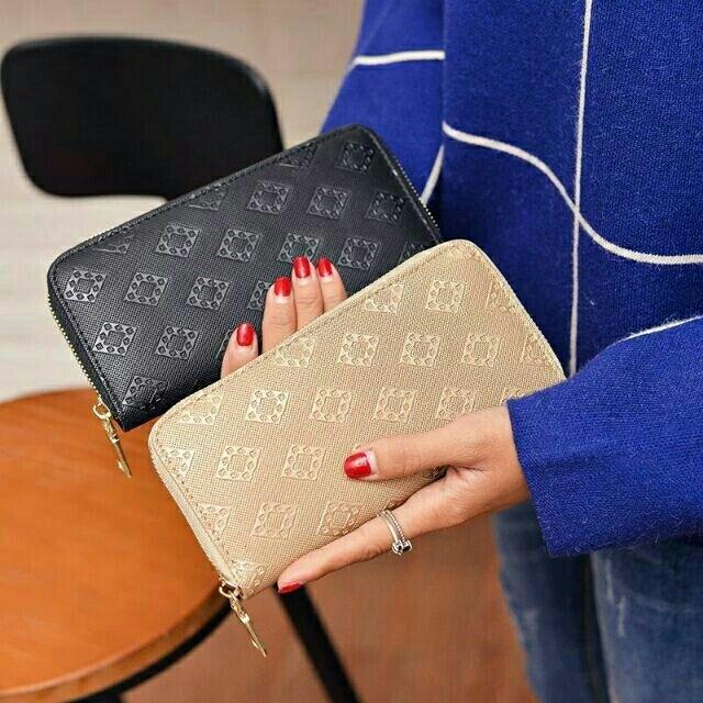 💖時尚歐美百搭復古拉鍊式多功能皮夾錢包