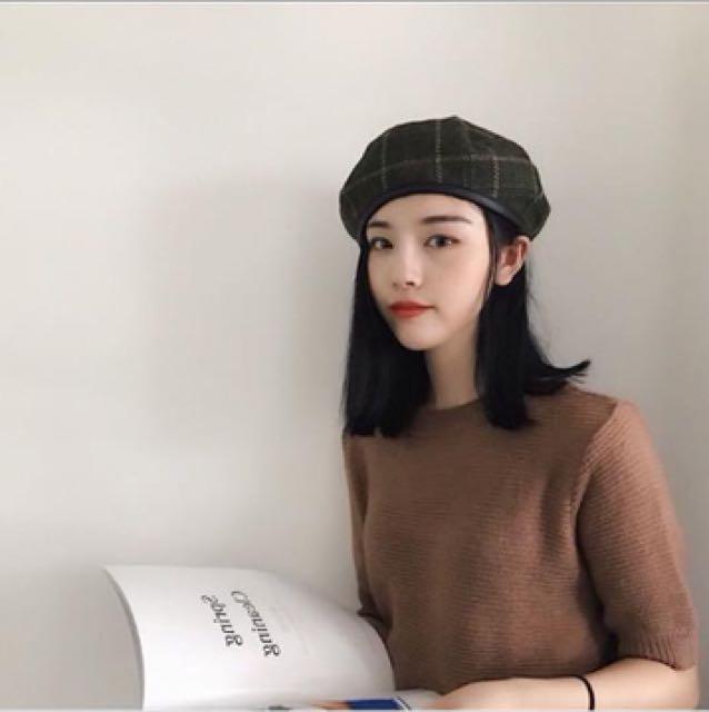 格紋深藍蓓蕾帽