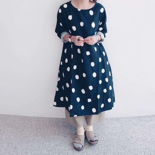 日系黑白圓點洋裝