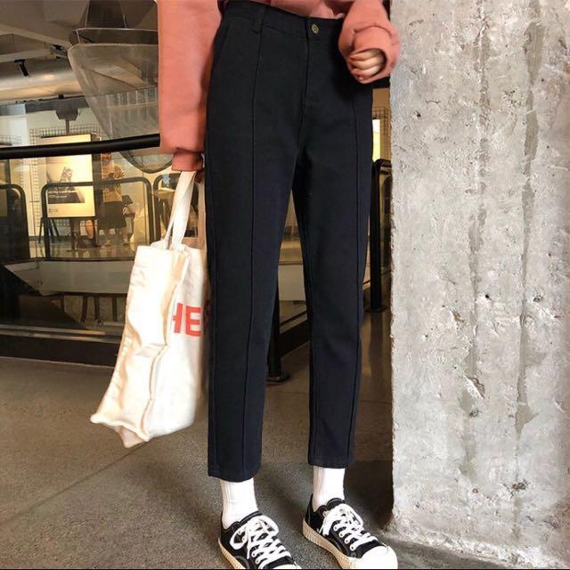 全新✔️含吊牌-韓版黑色直筒褲