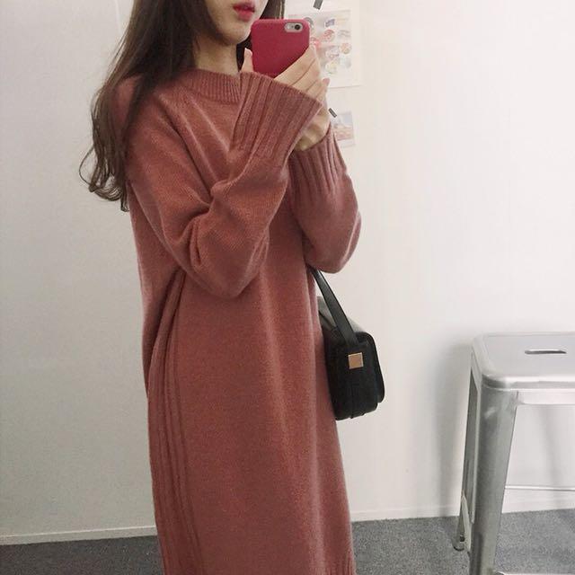 乾燥玫瑰 粉膚色連身洋裝 針織