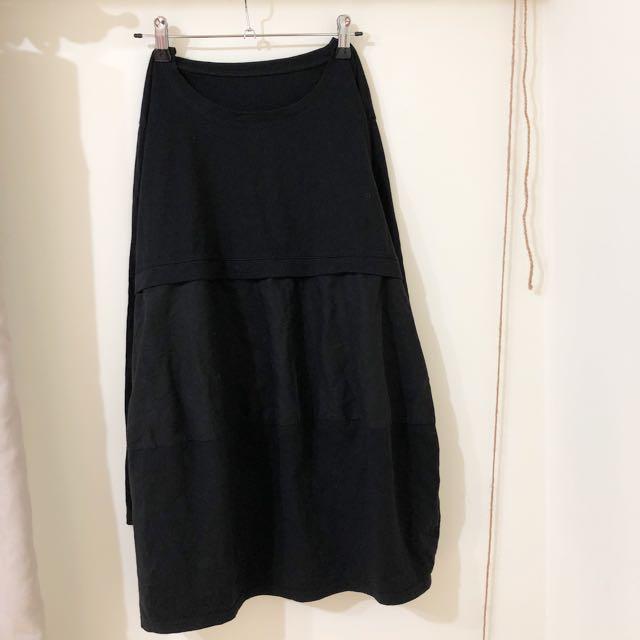 免運!黑 長袖 棉麻洋裝