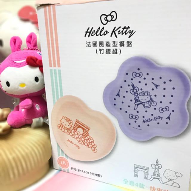 全新 交換 賣 7-11 Hello Kitty 法國風造型餐盤 竹籤維 餐盤 餐碗