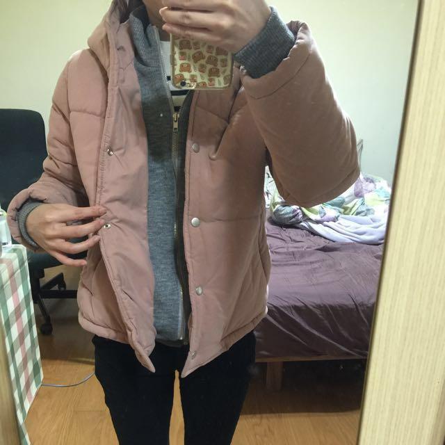 🚚 九成新 正韓 粉色連帽外套