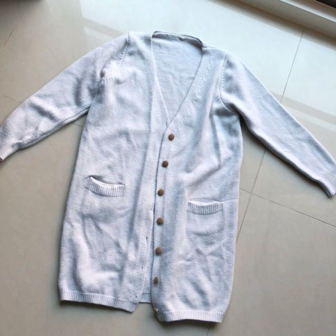 韓 溫柔簡約 藍灰色系 罩衫
