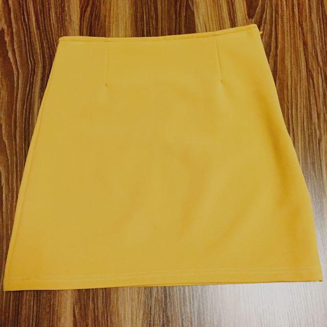 正韓 鵝黃色 短裙 窄裙 包裙