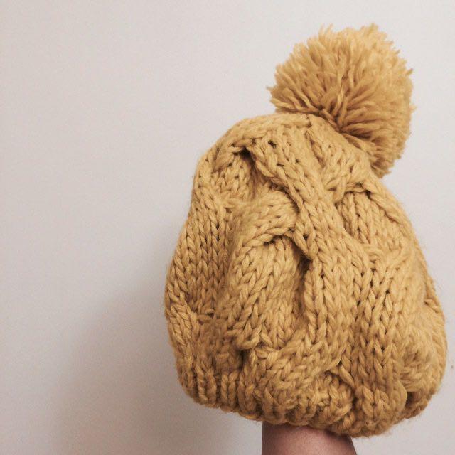 🖤暖黃 毛球 針織 厚實 毛帽