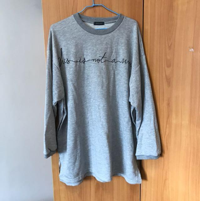 出清 全新 灰色 側開叉造型長袖T恤