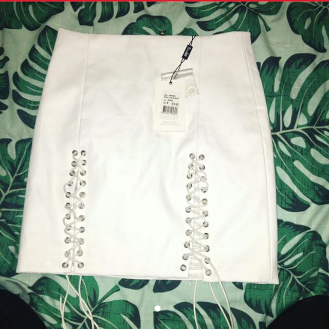 ✨ white leather bardot skirt