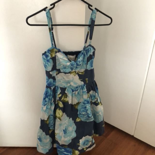 Abercrombie & Fitch Ladies blue/green floral dress, size S