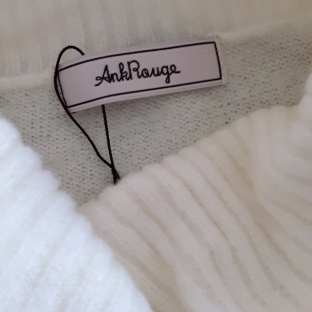 Ank Rouge Ribbons White Fleece Long Sweater Dress
