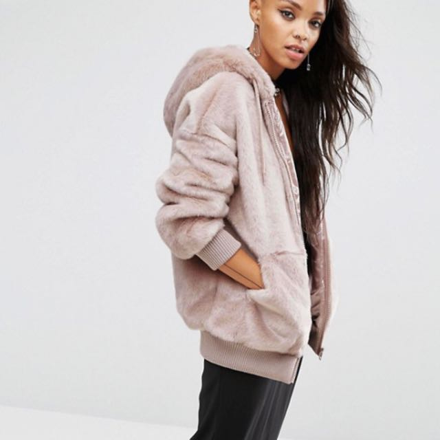 57c11f0a0d69e ASOS Oversized Bomber Jacket with Hood in Faux Fur