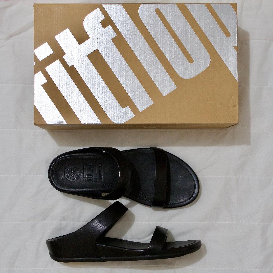 2a9459d5e4714b Authentic Fit Flop Banda Slide (Black Leather Sandals)