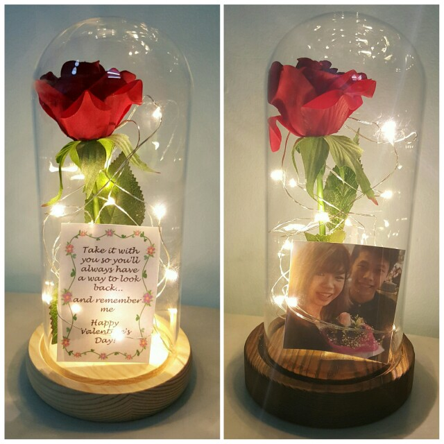 Beauty And The Beast Enchanted Rose Jar Lights Womens Fashion