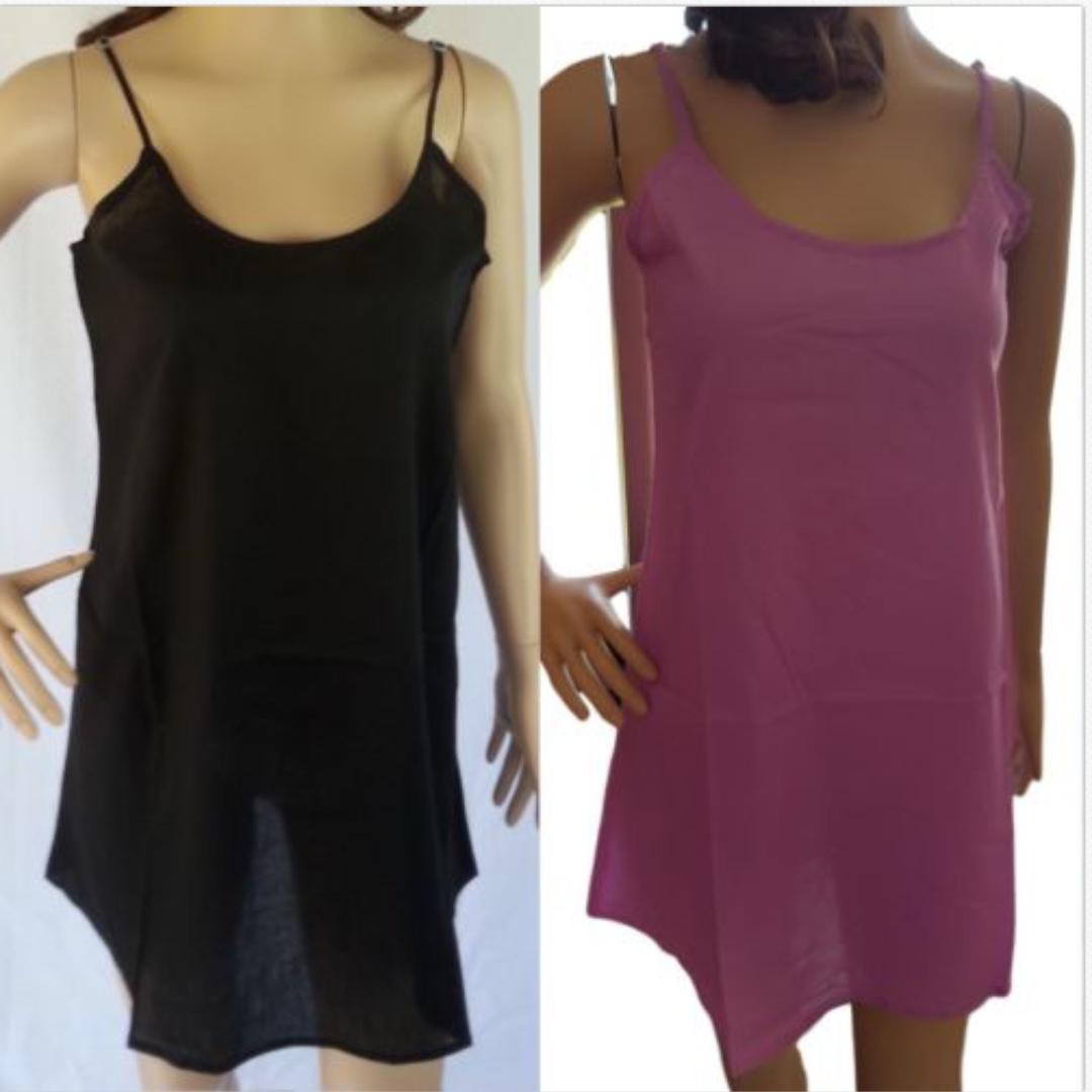 Black  Cotton Slip Short Lilac Petticoat
