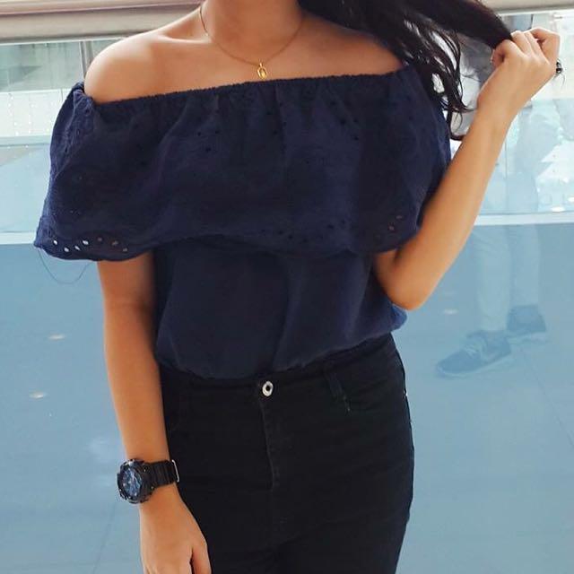 blue off shoulder