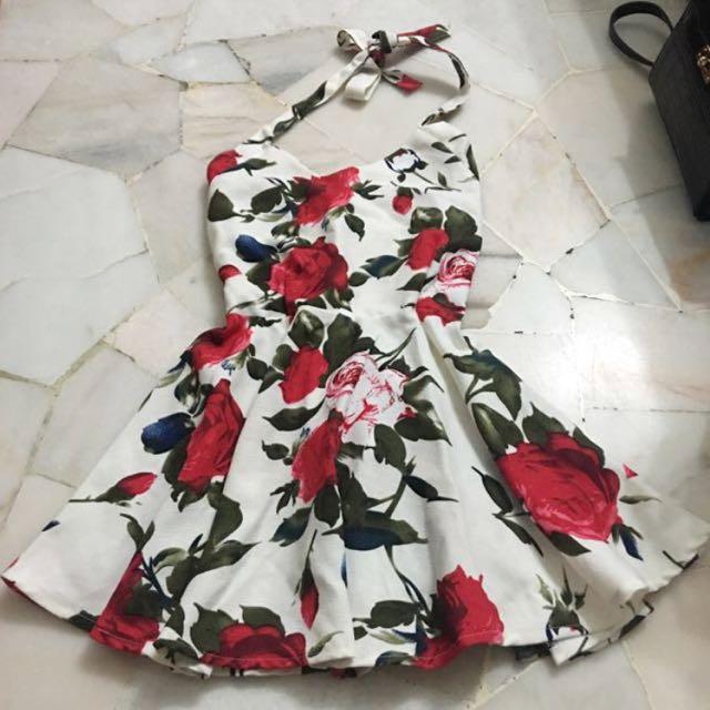 [BN] Halter Tie Neck Floral Dress