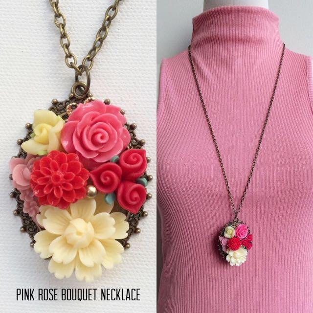 #BUY2GET3 Flower Bouquest long pendant necklace kalung bunga resin handmade
