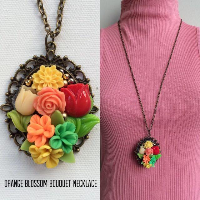 #BUY2GET3 Flowery Pendant long necklace handmade jewelry for women kalung bunga