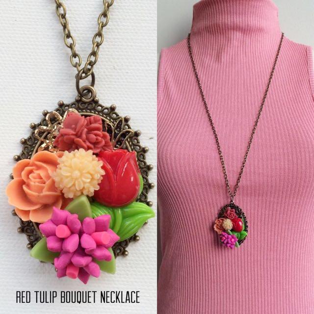 #BUY2GET3 Red Tulip flower bouquet long necklace aksesoris kalung handmade murah