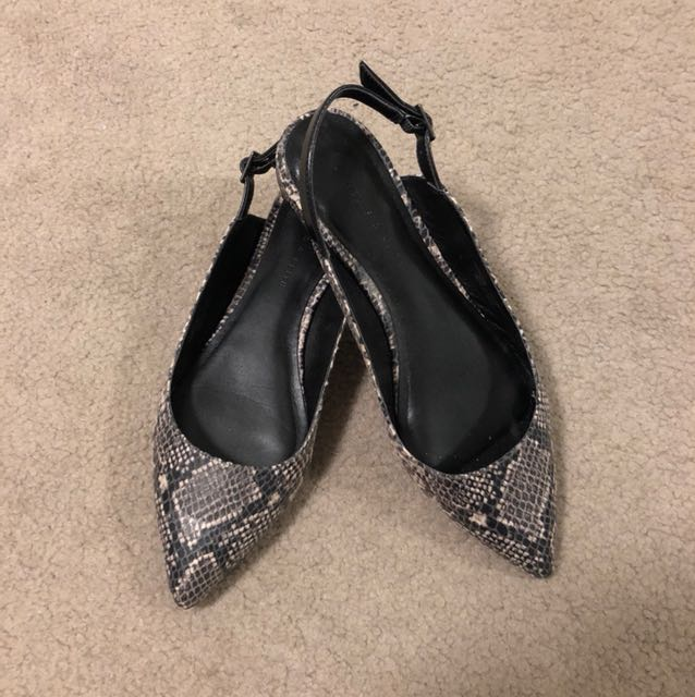 Charles & Keith Snakeskin Sandals Flats
