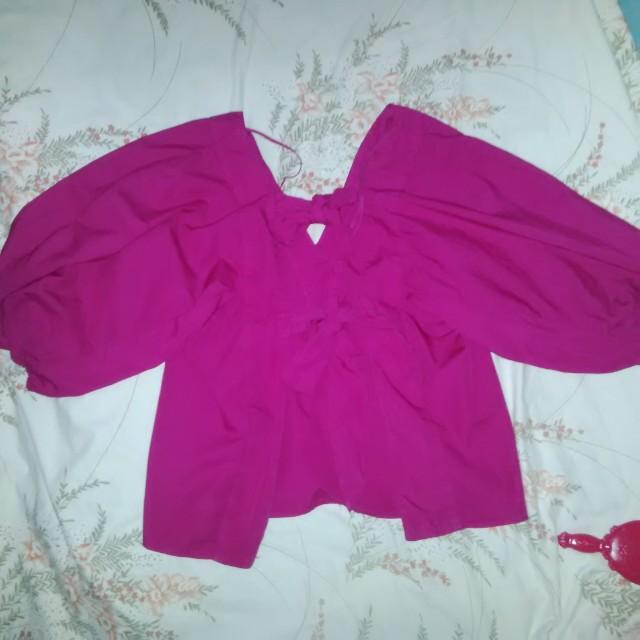 #cintadiskon Zara basic denim pink top S