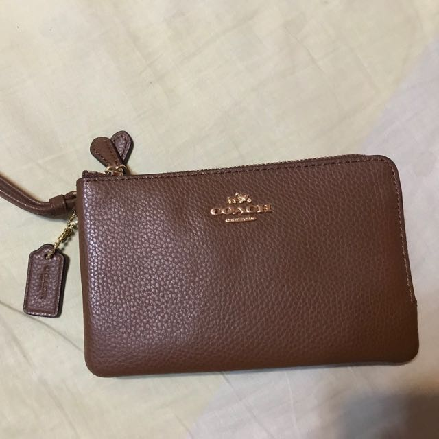 Coach double corner zip wristlet in penble leather