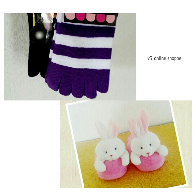 Cute Bunny Bedroom Slippers & Toe Socks