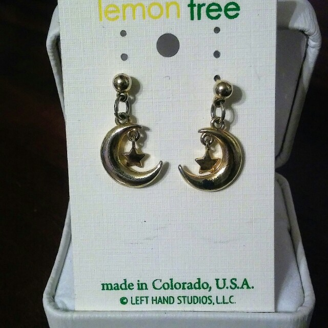 Dangly gold star and moon earrings