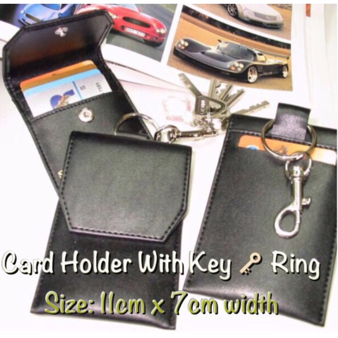 Durable Card Holders with Key Ring (Durable Artificial Leather) 💌 Free local mail