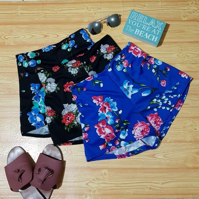 Floral Scallop Shorts (High waist)