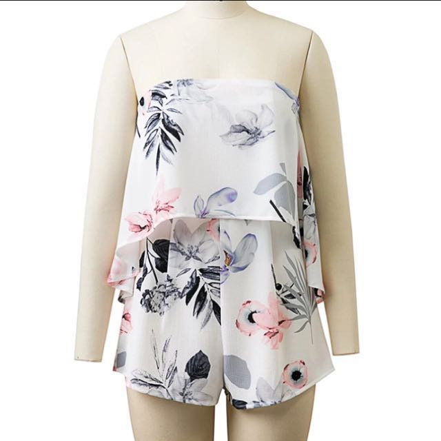 Floral tube playsuit